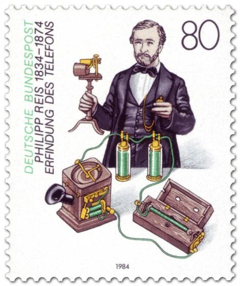 Briefmarke: Philipp Reis (Erfinder) mit Telefon