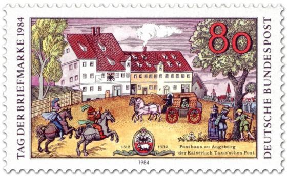 Briefmarke: Posthaus der Kaiserlich Taxis'schen Post in Augsburg