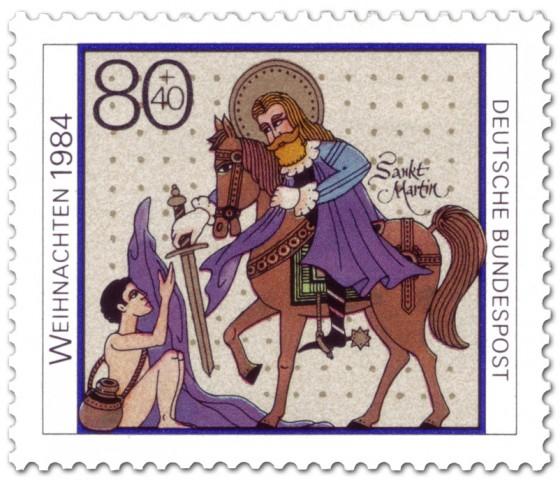 Briefmarke: Sankt Martin gibt Bettler Mantel (Weihnachtsmarke 1984)