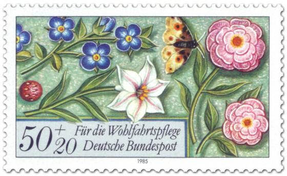 Briefmarke: Blumen und Schmetterling (Briefmarke)