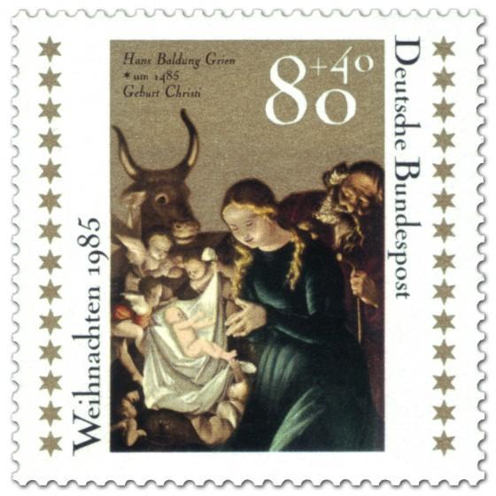 Briefmarke: Geburt Christi, Hans Baldung Grien (Weihnachtsmarke 1985)