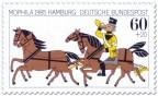 Posthorn-Reiter und Pferde