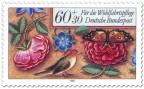 Briefmarke: Rosen, Vogel und Schmetterling