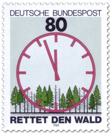 Briefmarke: Saurer Regen: Wald mit ablaufender Uhr