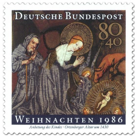 Briefmarke: Anbetung Kind (Weihnachtsmarke 1986)