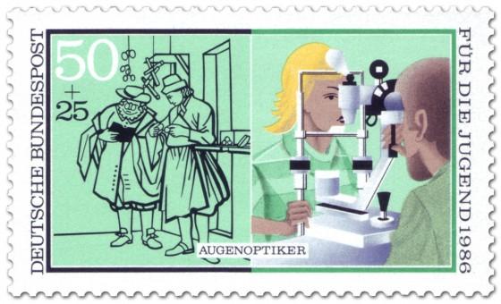 Briefmarke: Augenoptiker Sehtest