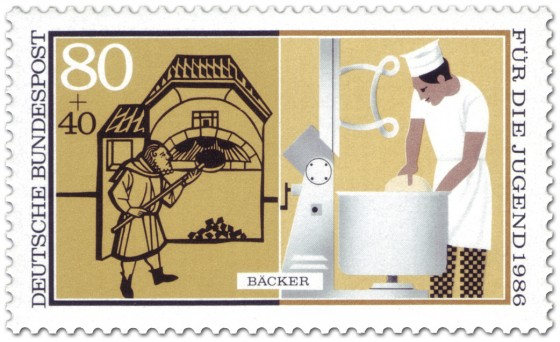 Briefmarke: Bäcker Brot Backen