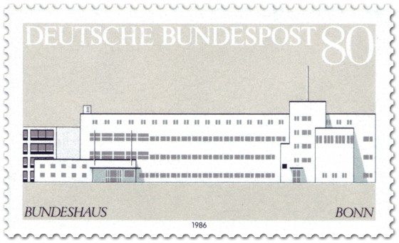 Briefmarke: Bundeshaus in Bonn