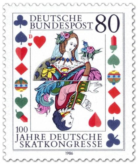 Briefmarke: Spielkarte Dame Skat