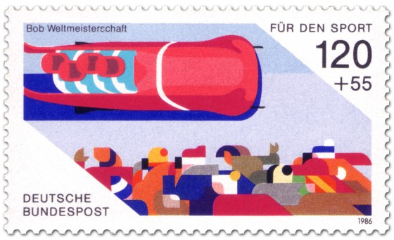 Briefmarke: Viererbob (Wintersport)