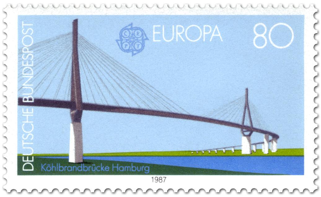 Brief Nach Hamburg Briefmarke : Köhlbrandbrücke in hamburg briefmarke