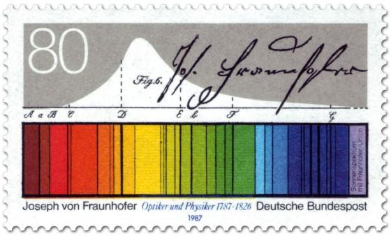 Briefmarke: Lichtspektrum - Joseph von Fraunhofer (Optiker)