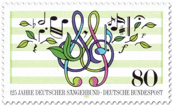 Briefmarke: Noten, Blätter (Deutscher Sängerbund)