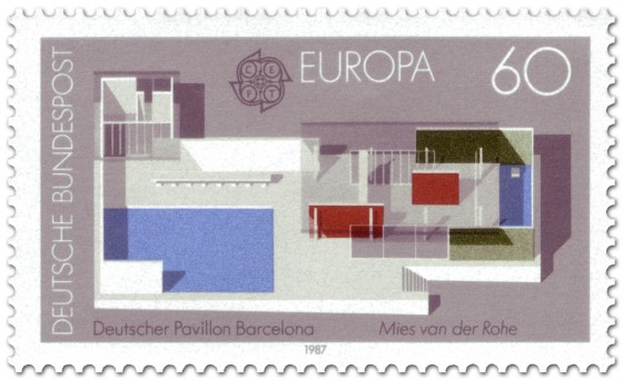 Briefmarke: Dt. Pavillon Barcelona von Ludwig Mies van der Rohe