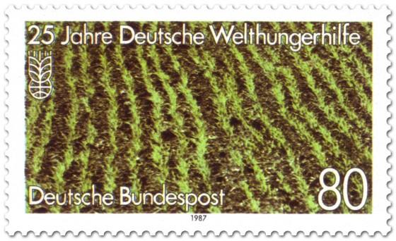 Briefmarke: Reisfeld - Deutsche Welthungerhilfe