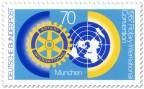 Briefmarke: Rotary-Club Logo und Weltkugel