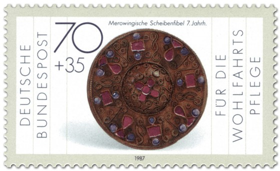 Briefmarke: Scheibenfiebel der Merowinger (7. Jahrhundert)