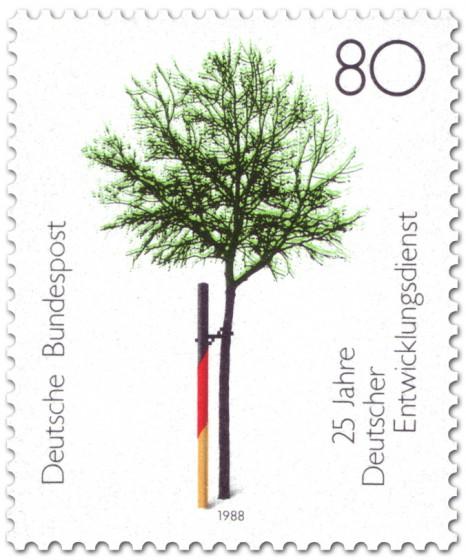 Briefmarke: Baum am Pfahl (Entwicklungsdienst)