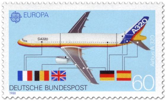 Briefmarke: Flugzeug Airbus A320 - Bauteile