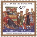 Briefmarke: Geburt Christi aus dem Evangeliar von Heinrich dem Löwen (Weihnachtsmarke 1988)
