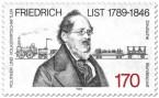 Briefmarke: Friedrich List (Volkswirt) vor Eisenbahn