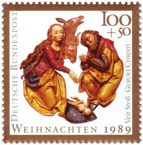 Briefmarke: Geburt Christi von Veit Stoß (Weihnachtsmarke 1989)