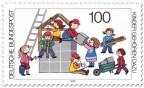 Briefmarke: Kinderspiel: ein Haus bauen