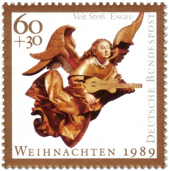 Briefmarke: Musizierender Engel von Veit Stoss (Weihnachtsmarke 1989)
