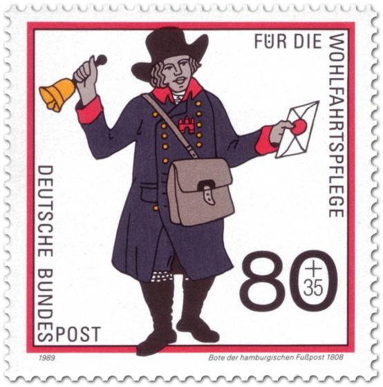 Briefmarke: Postbote der Hamburgischen Fußpost