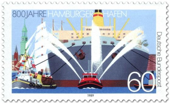 Briefmarke: 800 Jahre Hamburger Hafen Schlepper vor Schiff