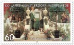 Briefmarke: Sommerabend in Worpswede (von Heinrich Vogeler)