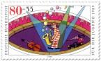 Briefmarke: Zirkus Clown macht Musik