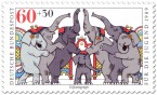 Briefmarke: Zirkus Elefanten