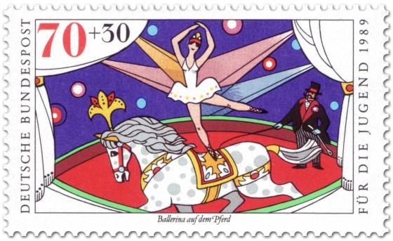 Briefmarke: Zirkus Pferd mit Ballerina