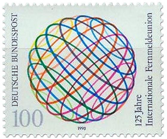 Briefmarke: Int. Fernmeldeunion, Weltkugel