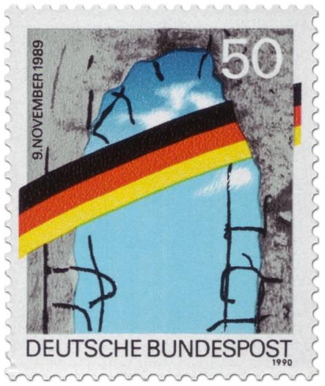Briefmarke: Mauerfall 1. Jahrestag 1990