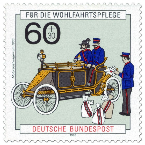 Briefmarke: Motorpostwagen Oldtimer