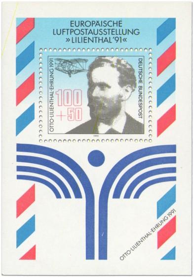 Briefmarke: Briefmarkenblock Luftpostausstellung Liliebthal 1991