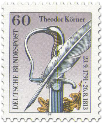 Briefmarke: Feder, Schwert und Eichenblatt