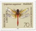 Briefmarke: Blutrote Heidelibelle (Sympetrum sanguineum)
