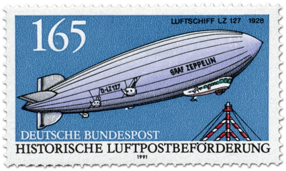 Briefmarke: Luftschiff Zeppelin LZ 127, 1928