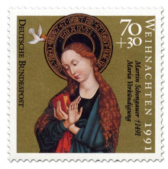 Briefmarke: Martin Schongauer: Maria Verkündigung