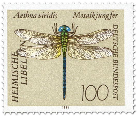 Briefmarke: Grüne Mosaikjungfer (Aeshna viridis)