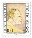 Briefmarke: Otto Dix - Selbstbildnis im Profil nach rechts