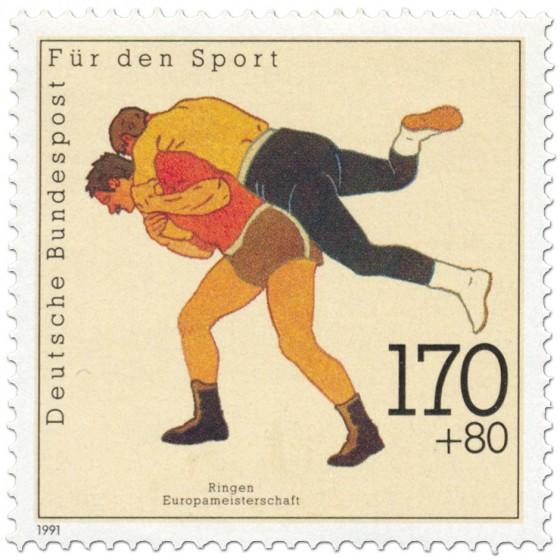 Briefmarke: Ringen Männer (EM 1991)