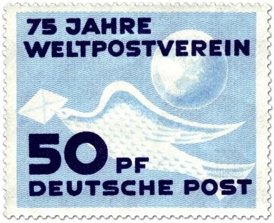 Briefmarke: Brieftaube, 75 Jahre Weltpostverein