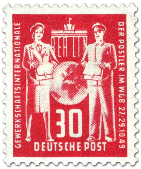 Briefmarke: Postler, Gewerkschaft-Gründungskonferenz (30, Rot)