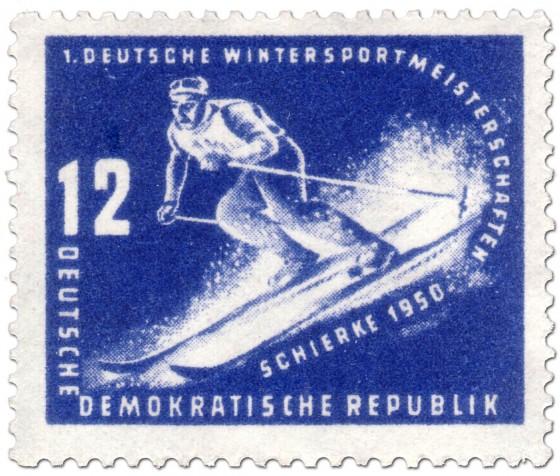 Briefmarke: Abfahrt-Skiläufer Schierke 1950