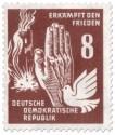 Briefmarke: Bombenangriff, Hand und Taube