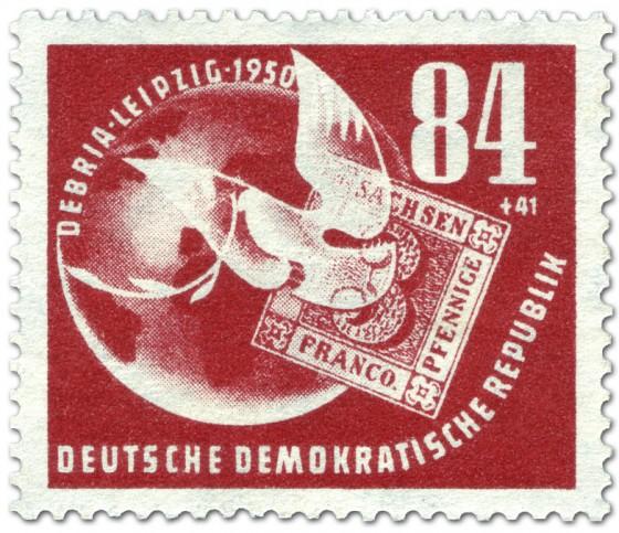 Briefmarke: Briefmarke Taube Sachsen Dreier Debria